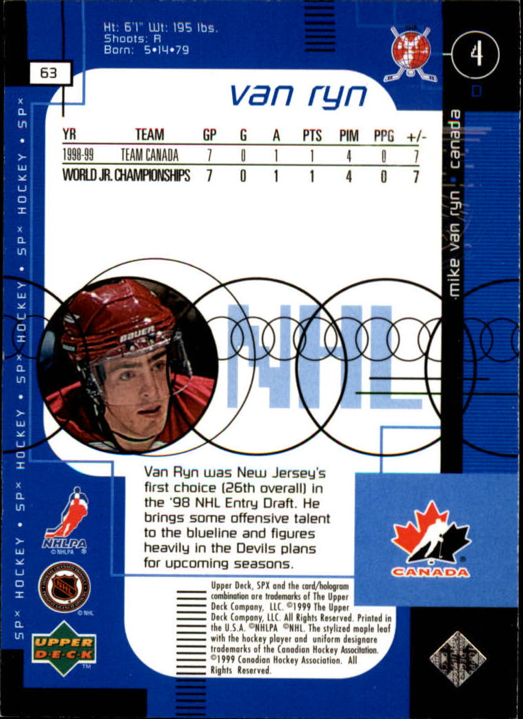 1998-99 SPx Top Prospects #63 Mike Van Ryn back image