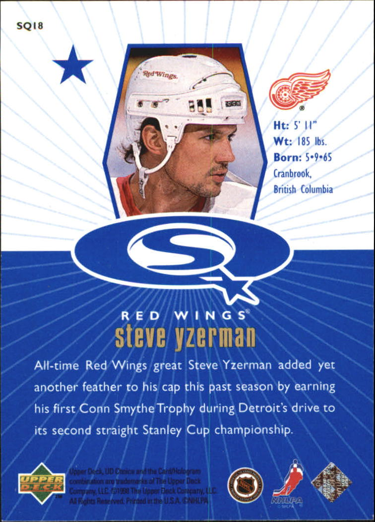 1998-99 UD Choice StarQuest Blue #SQ18 Steve Yzerman back image