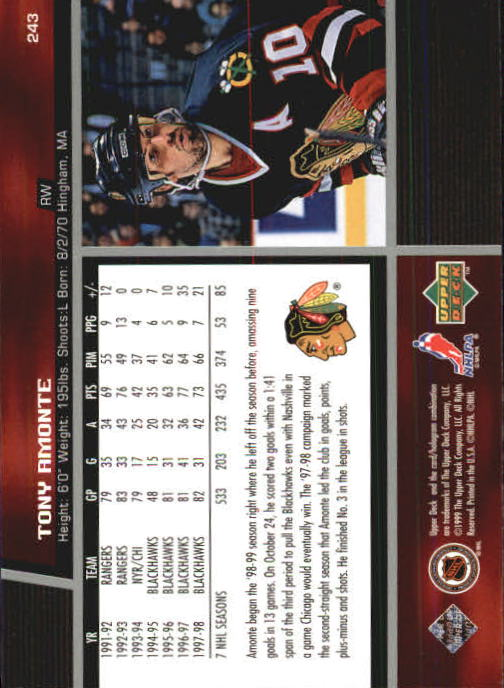 1998-99 Upper Deck #243 Tony Amonte back image