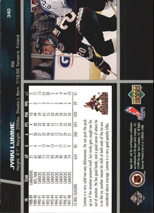 1998-99 Upper Deck #340 Jyrki Lumme back image