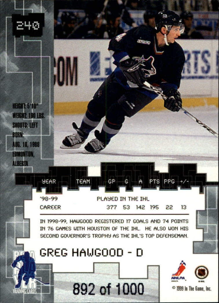 1999-00 BAP Millennium Ruby #240 Greg Hawgood back image