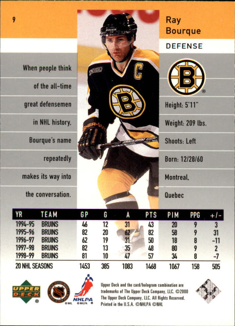 1999-00 Black Diamond #9 Ray Bourque back image