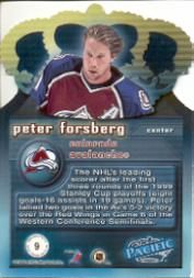 1999-00 Pacific Gold Crown Die-Cuts #9 Peter Forsberg back image
