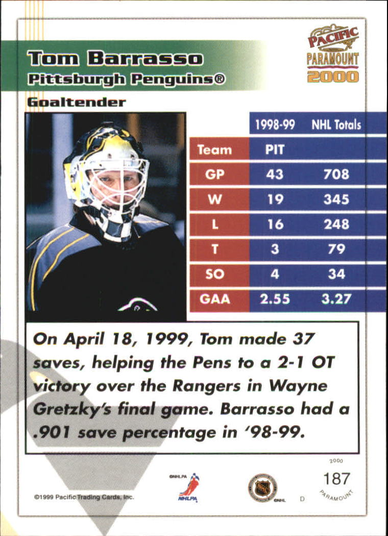 1999-00 Paramount Red #187 Tom Barrasso back image