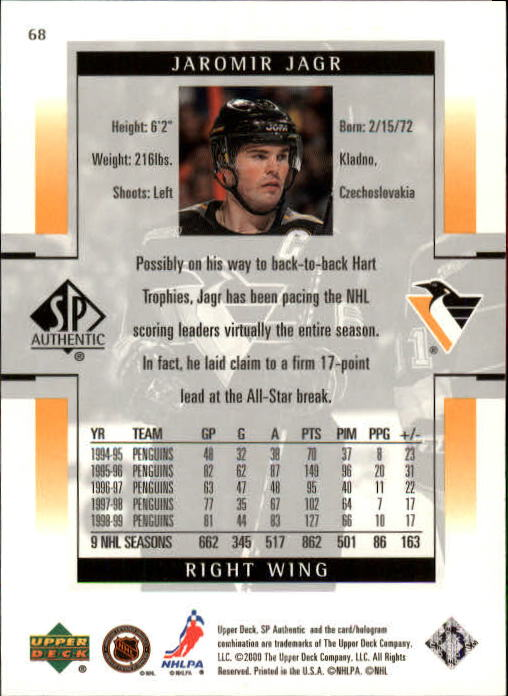 1999-00 SP Authentic #68 Jaromir Jagr back image