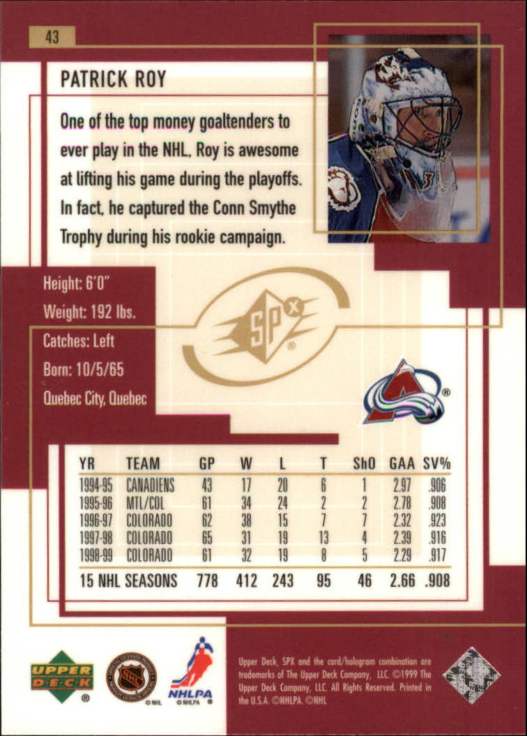 1999-00-SPx-Hockey-Cards-Pick-From-List miniature 65
