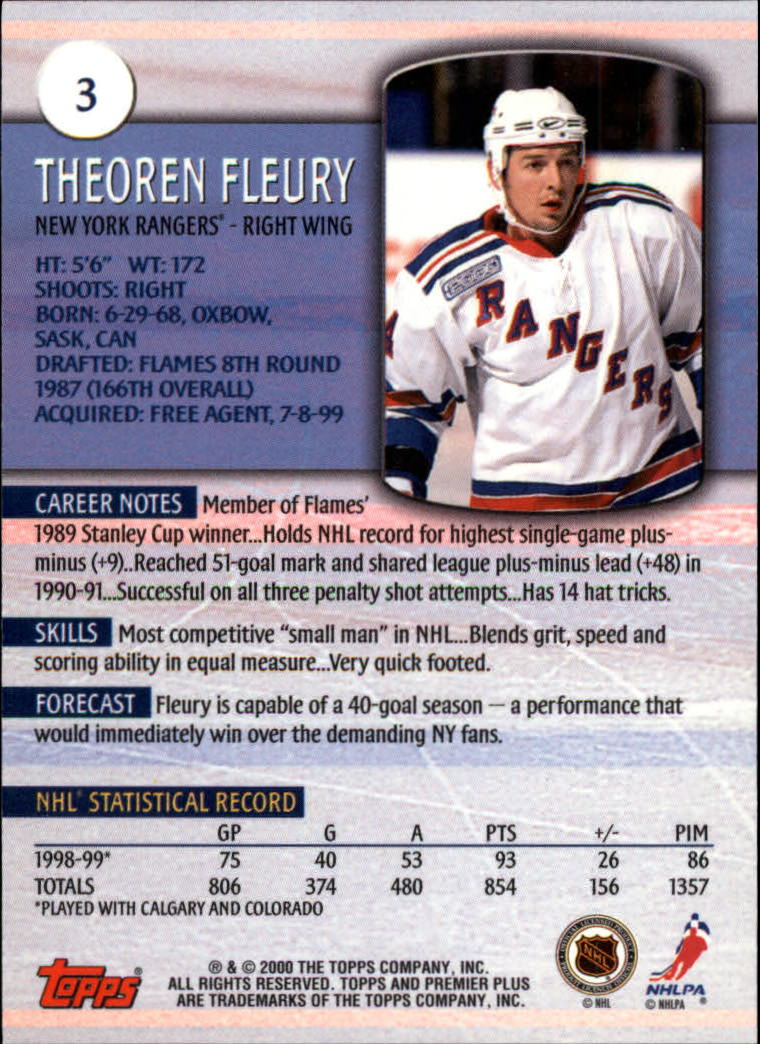 1999-00 Topps Premier Plus #3 Theo Fleury back image
