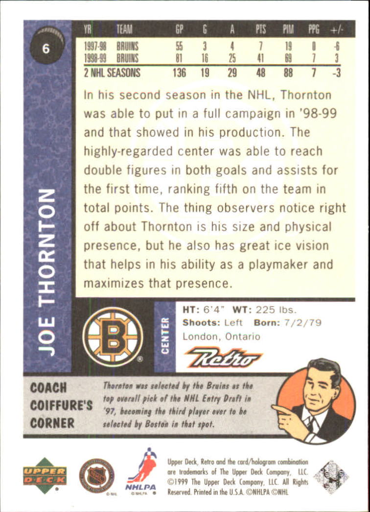 1999-00 Upper Deck Retro #6 Joe Thornton back image