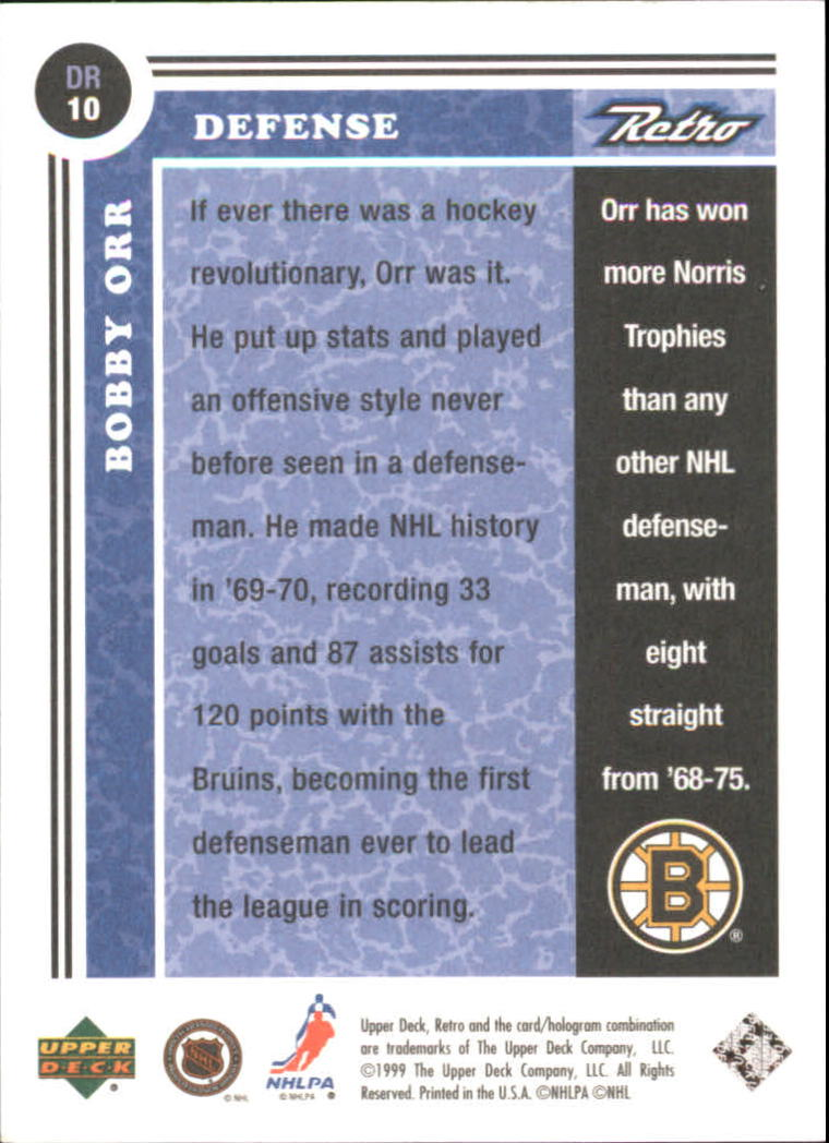 1999-00 Upper Deck Retro Distant Replay #DR10 Bobby Orr back image