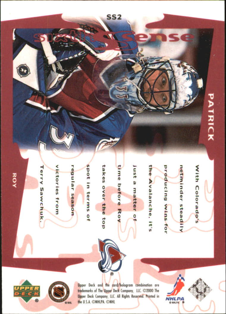 1999-00 Upper Deck Sixth Sense #SS2 Patrick Roy back image