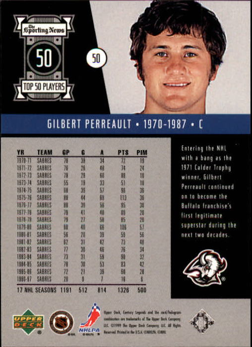 1999-00 Upper Deck Century Legends #50 Gilbert Perreault back image