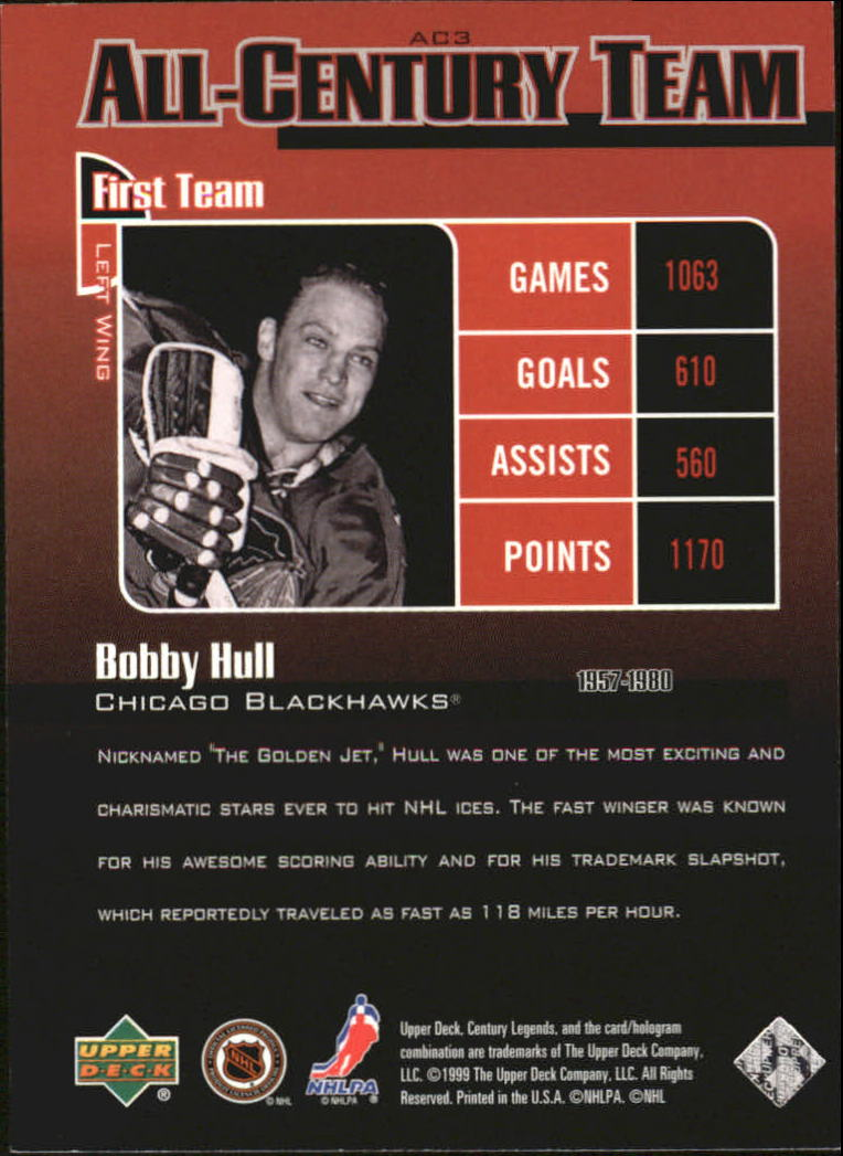 1999-00 Upper Deck Century Legends All Century Team #AC3 Bobby Hull back image