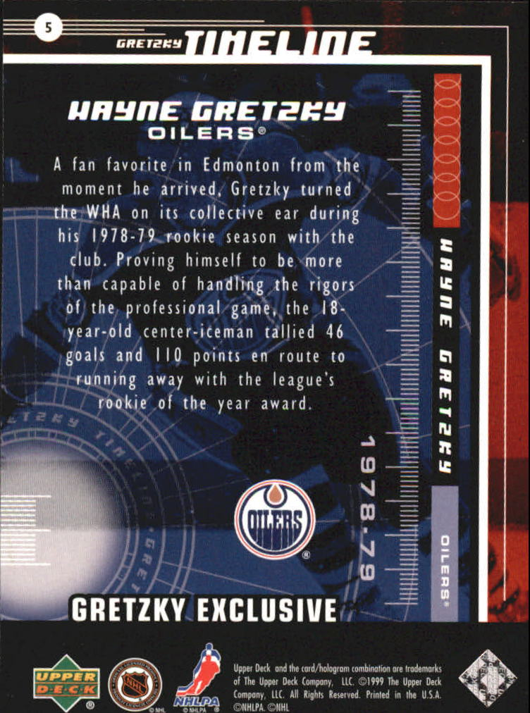 1999-00 Upper Deck Gretzky Exclusives #5 Wayne Gretzky back image