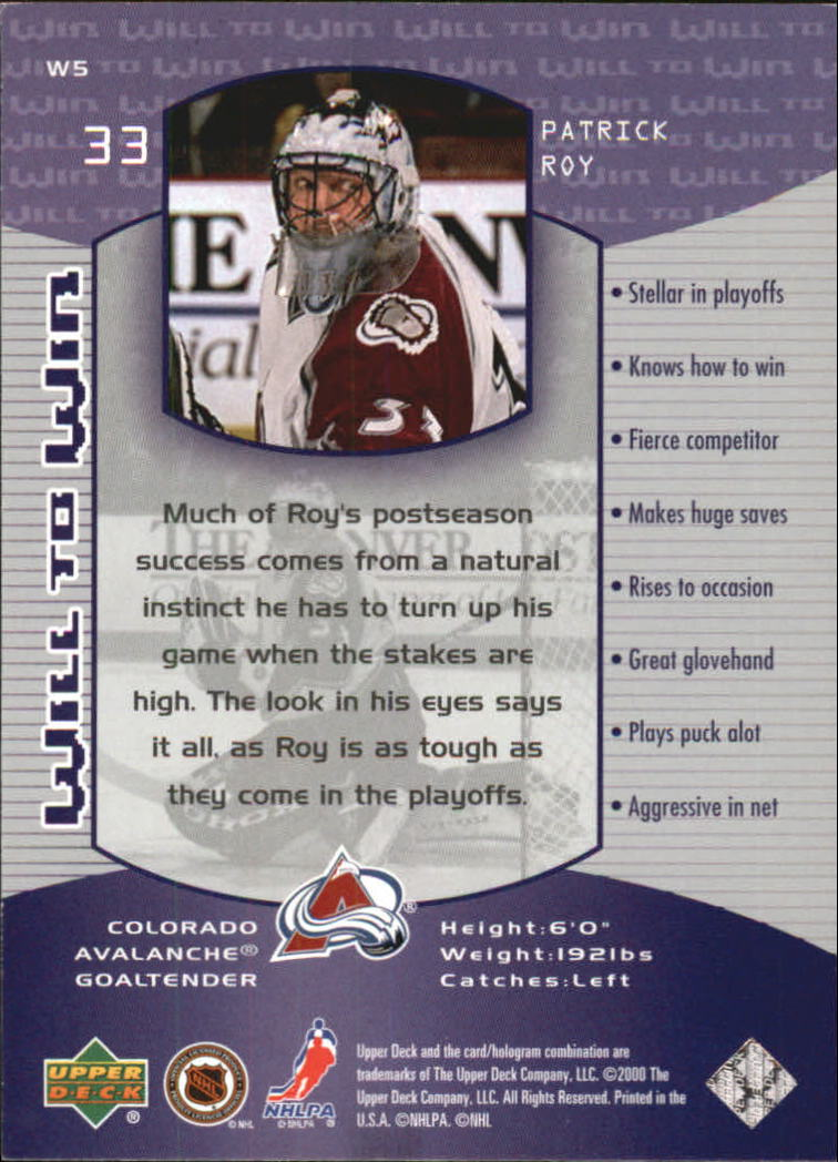 1999-00 Wayne Gretzky Hockey Will to Win #W5 Patrick Roy back image