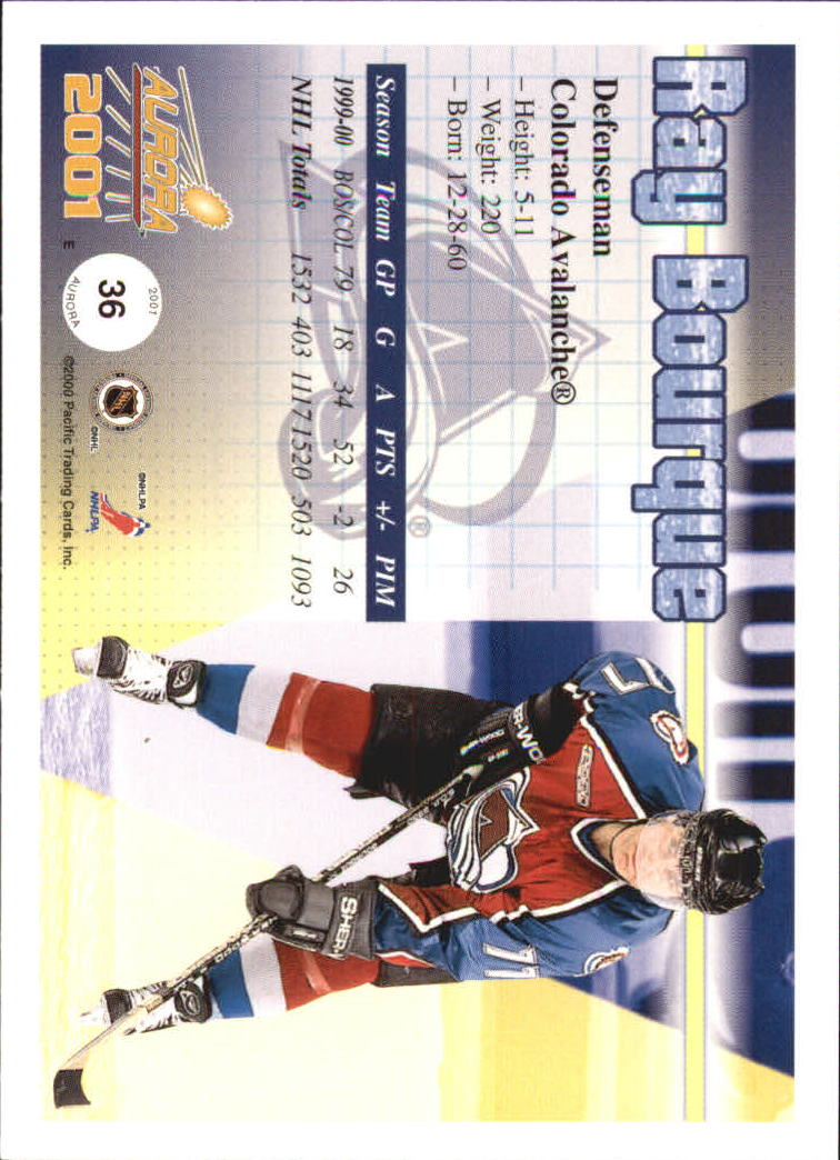 2000-01 Aurora #36 Ray Bourque back image