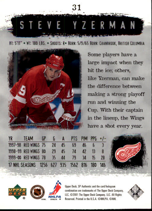 2000-01 SP Authentic #31 Steve Yzerman back image