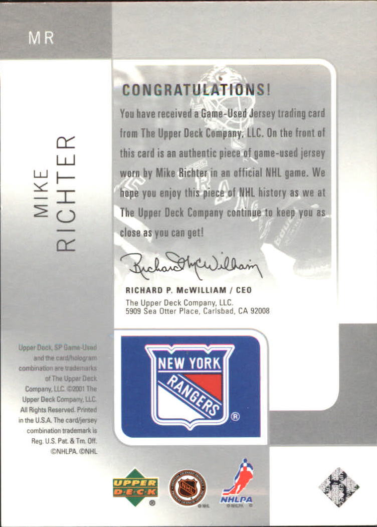 2000-01 SP Game Used Tools of the Game Exclusives #MR Mike Richter back image