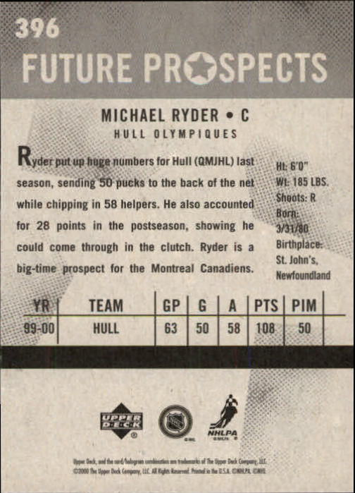 2000-01 Upper Deck Vintage #396 Michael Ryder RC back image