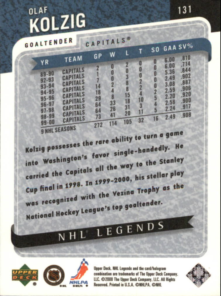 2000-01 Upper Deck Legends #131 Olaf Kolzig back image
