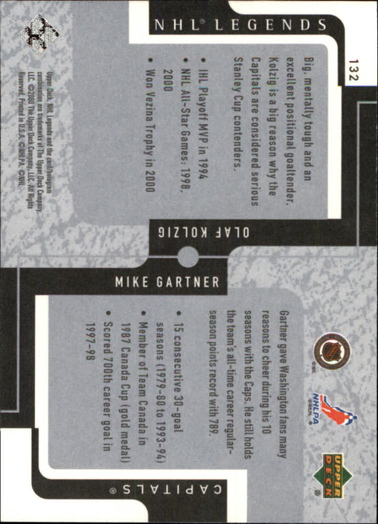 2000-01 Upper Deck Legends #132 Mike Gartner/Olaf Kolzig back image