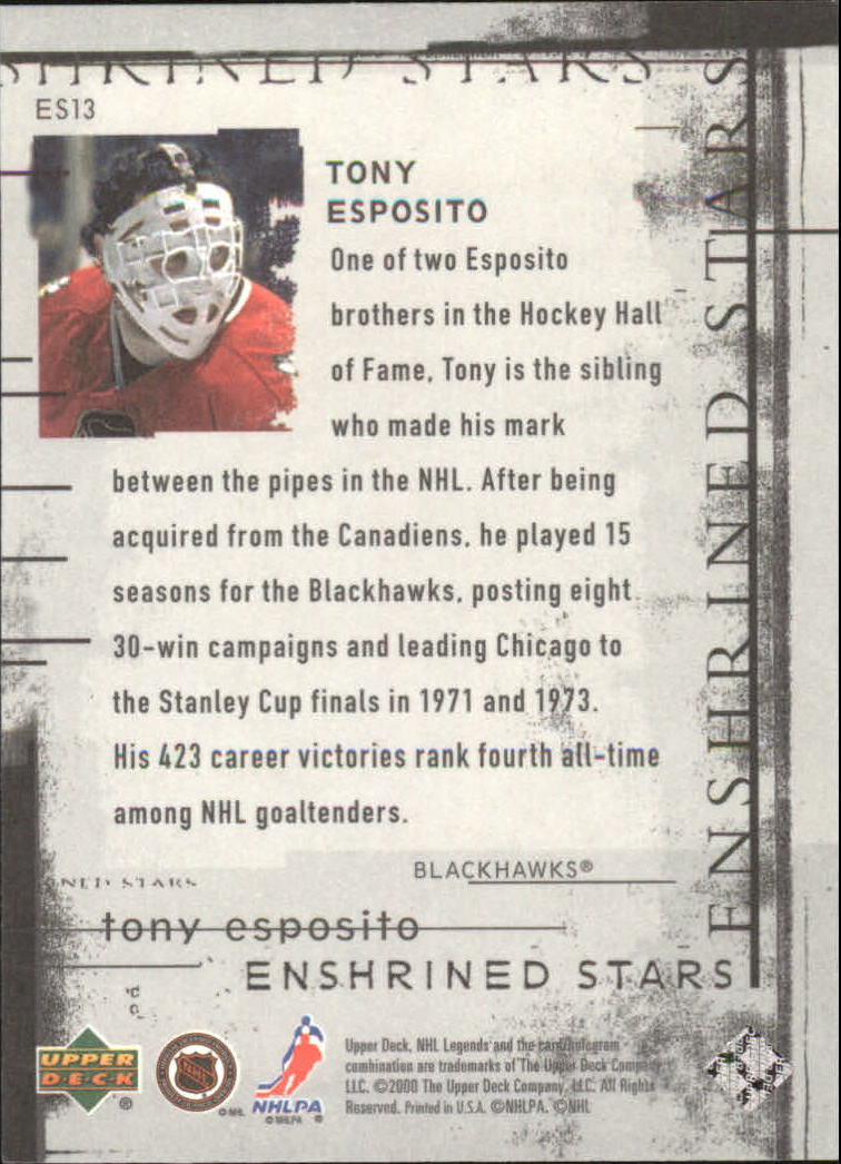 2000-01 Upper Deck Legends Enshrined Stars #ES13 Tony Esposito back image