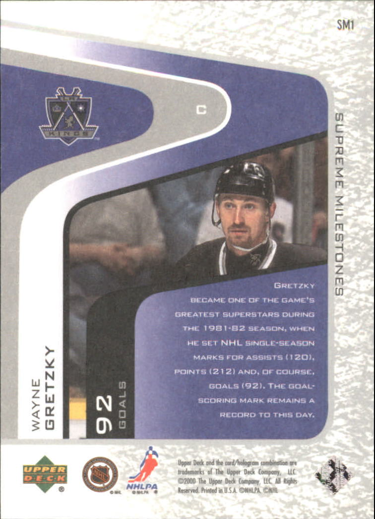 2000-01 Upper Deck Legends Supreme Milestones #SM1 Wayne Gretzky back image