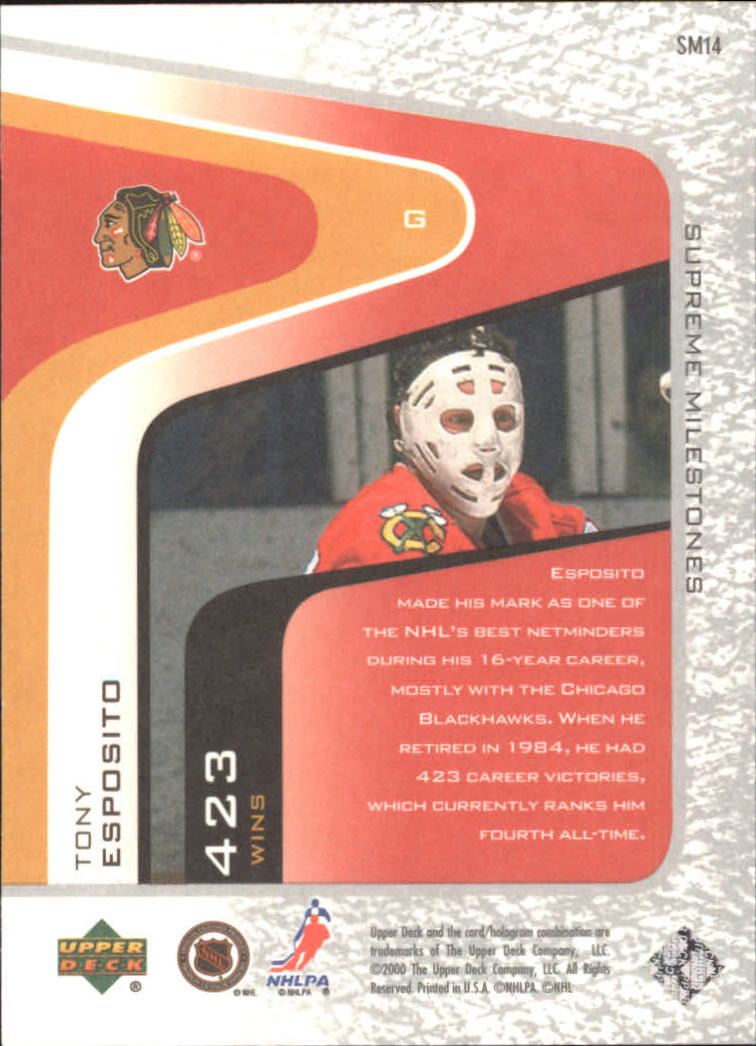 2000-01 Upper Deck Legends Supreme Milestones #SM14 Tony Esposito back image