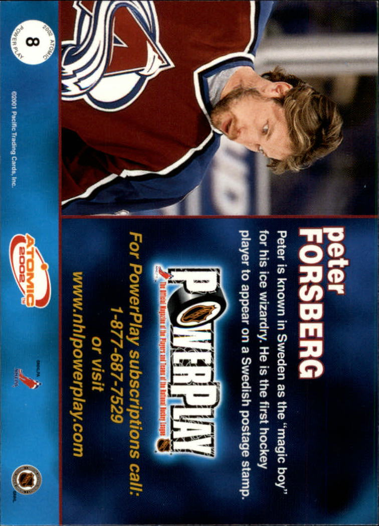 2001-02 Atomic Power Play #8 Peter Forsberg back image