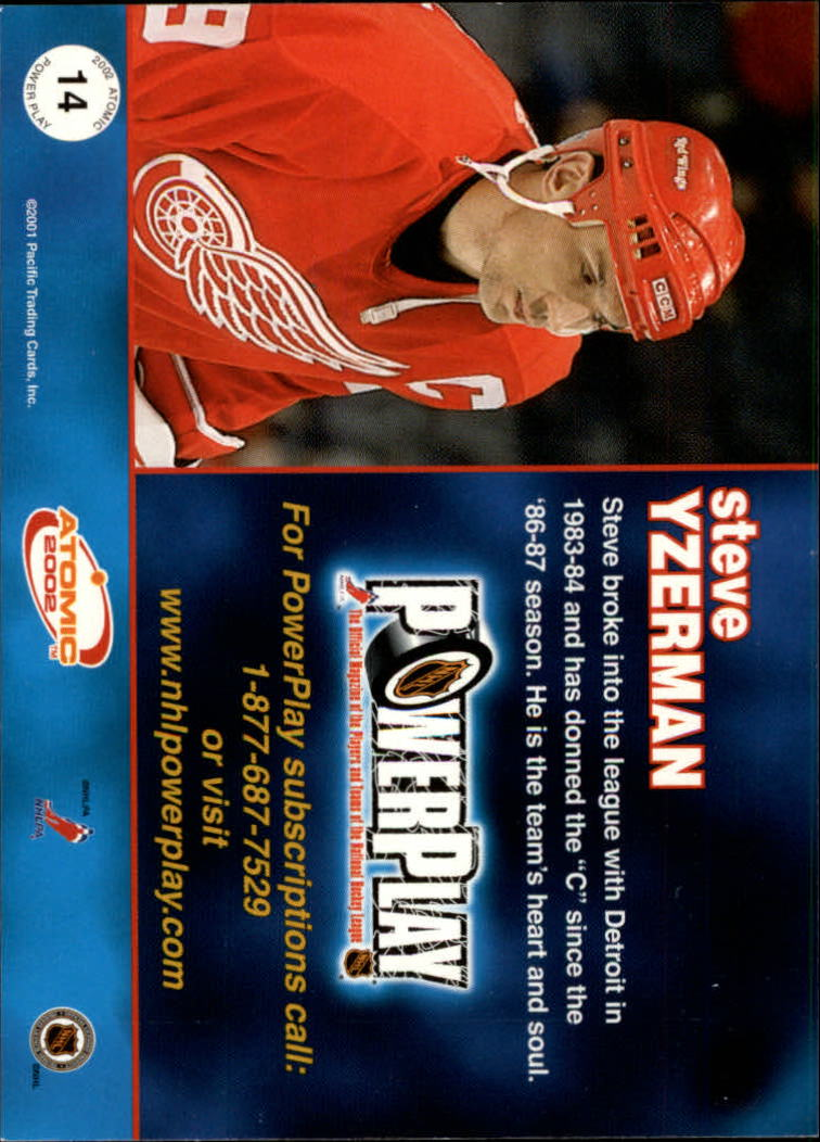 2001-02 Atomic Power Play #14 Steve Yzerman back image