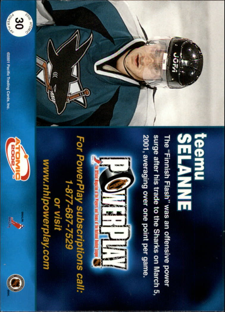2001-02 Atomic Power Play #30 Teemu Selanne back image