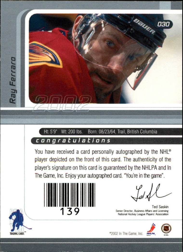 2001-02 BAP Signature Series Autographs #30 Ray Ferraro back image