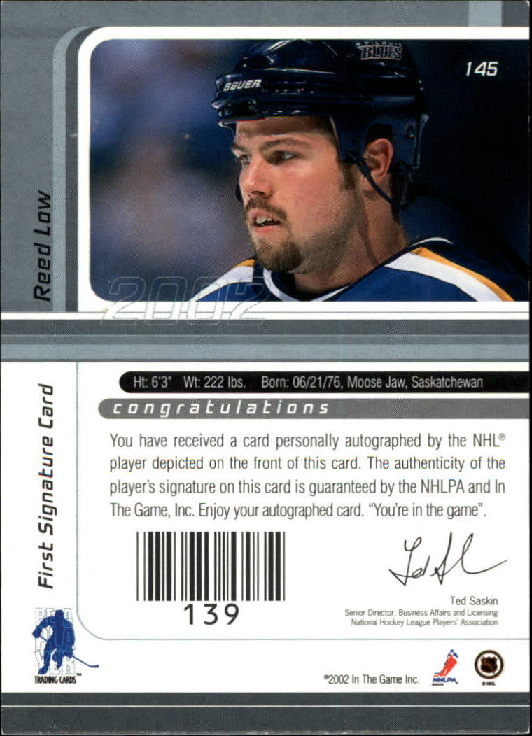 2001-02 BAP Signature Series Autographs #145 Reed Low back image