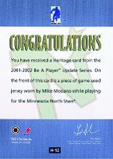 2001-02 BAP Update Heritage #H12 Mike Modano back image