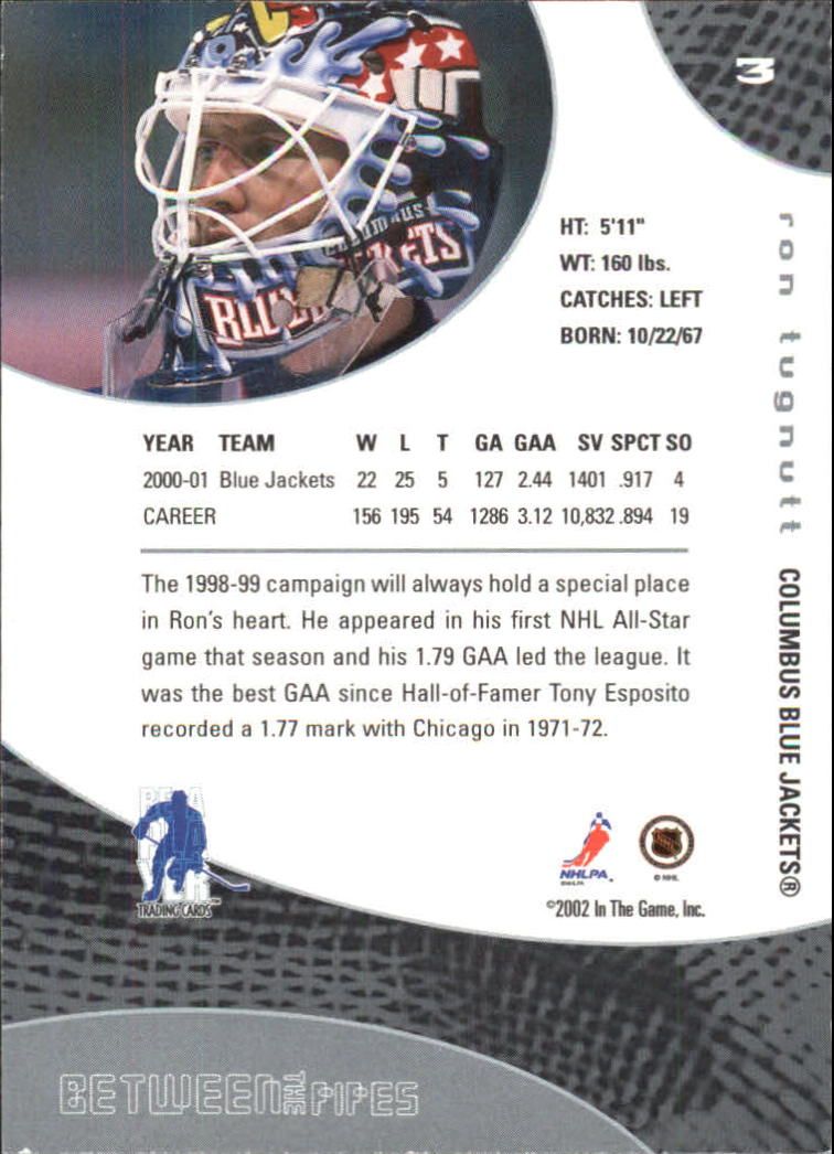 2001-02 Between the Pipes #3 Ron Tugnutt back image
