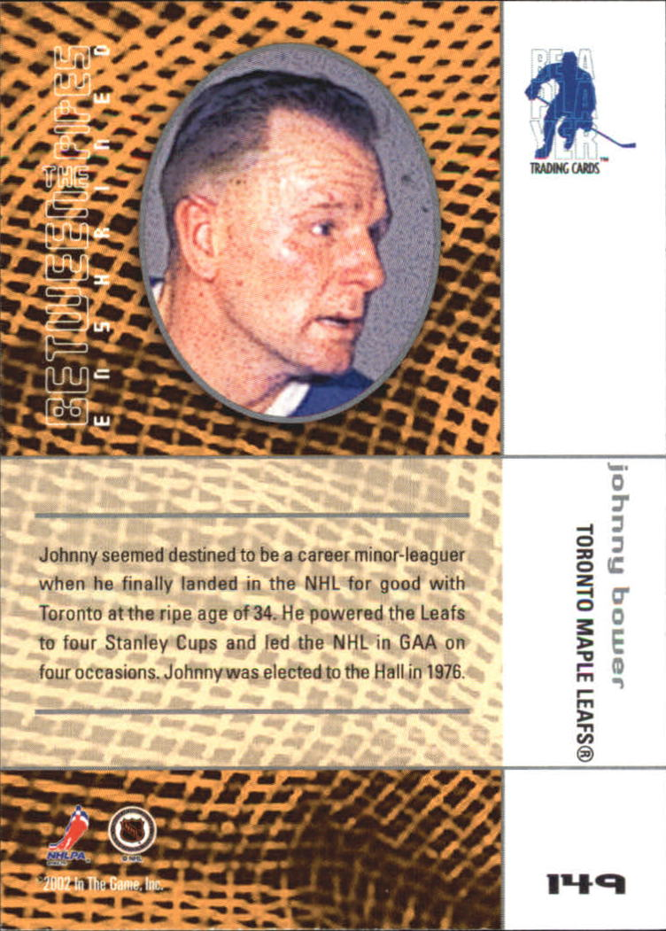 2001-02 Between the Pipes #149 Johnny Bower back image