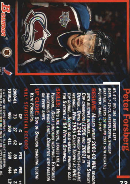 2001-02 Bowman YoungStars #73 Peter Forsberg back image