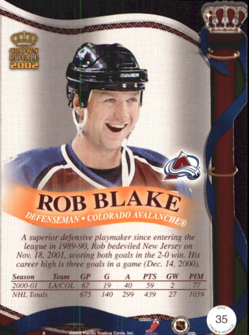2001-02 Crown Royale #35 Rob Blake back image