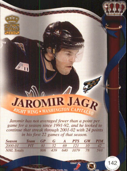2001-02 Crown Royale #142 Jaromir Jagr back image