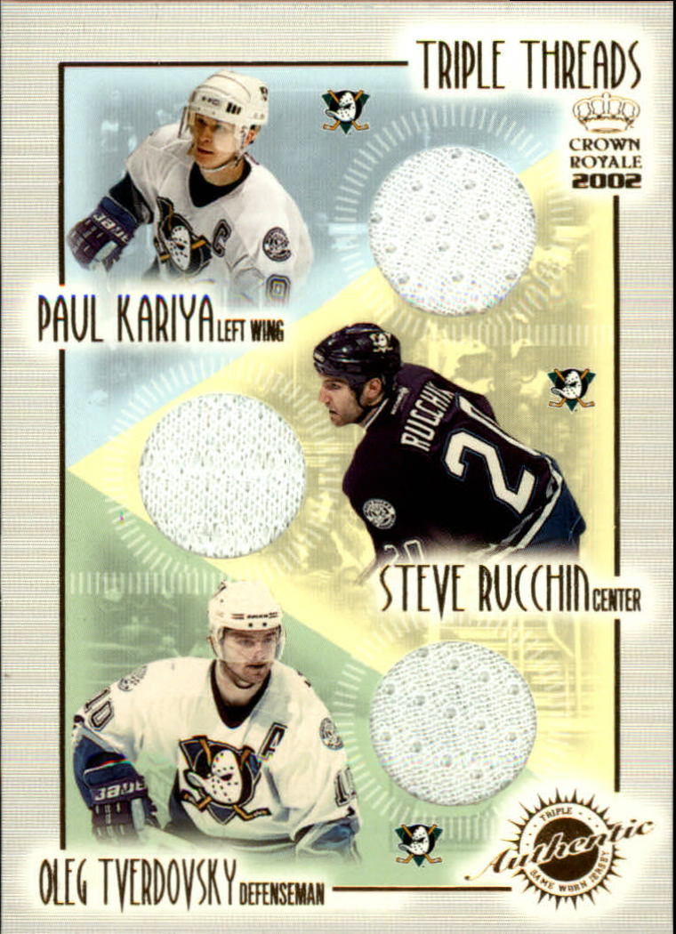 2001-02 Crown Royale Triple Threads #1 Paul Kariya/Steve Rucchin/Oleg Tverdovsky