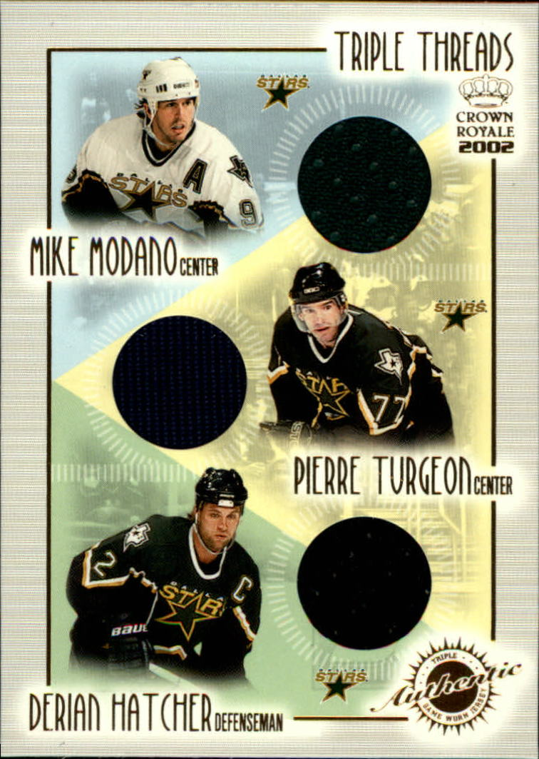 2001-02 Crown Royale Triple Threads #8 Mike Modano/Pierre Turgeon/Derian Hatcher