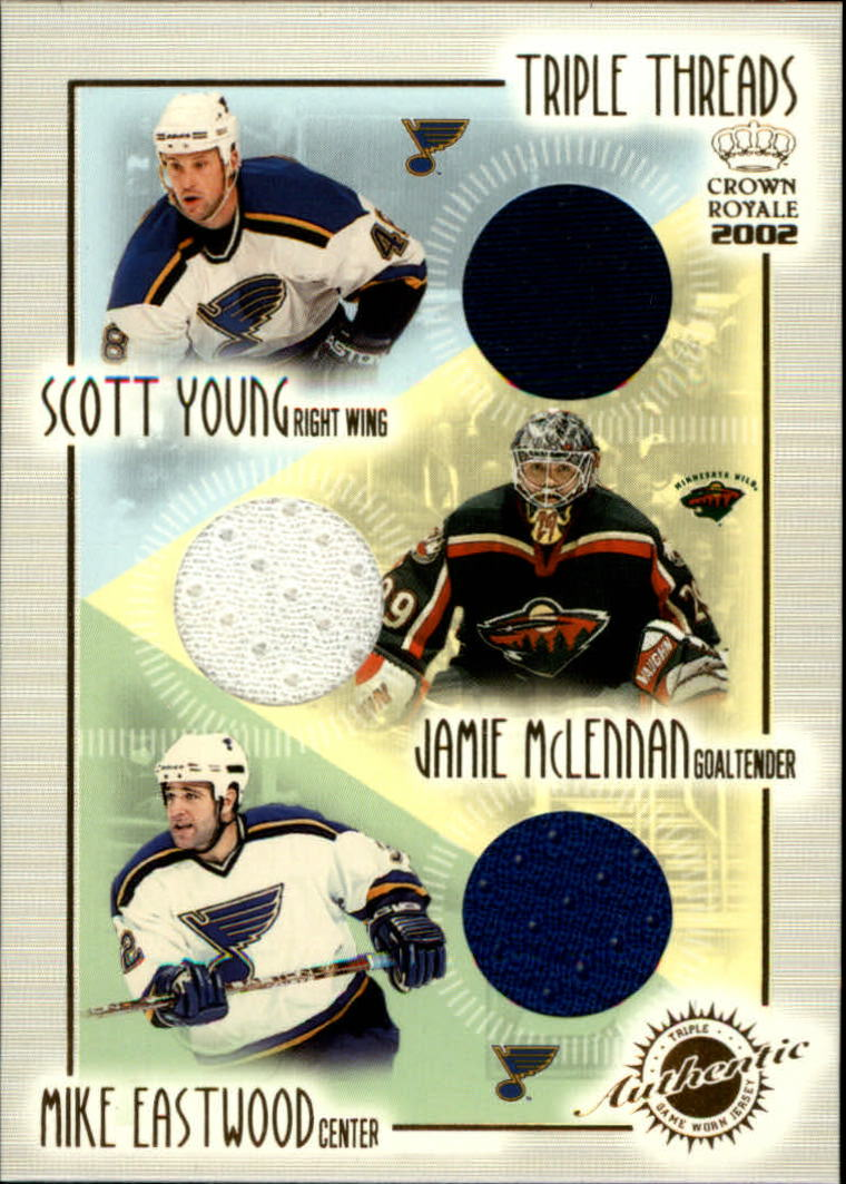 2001-02 Crown Royale Triple Threads #18 Scott Young/Jamie McLennan/Mike Eastwood