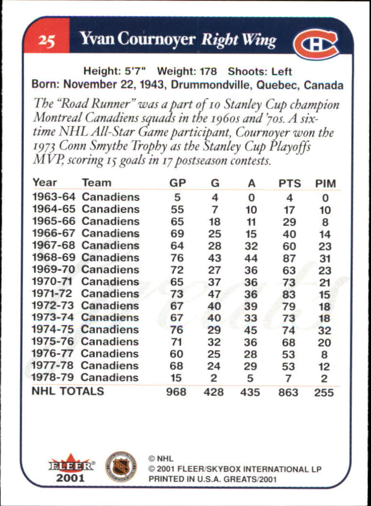 2001-02 Greats of the Game #25 Yvan Cournoyer back image