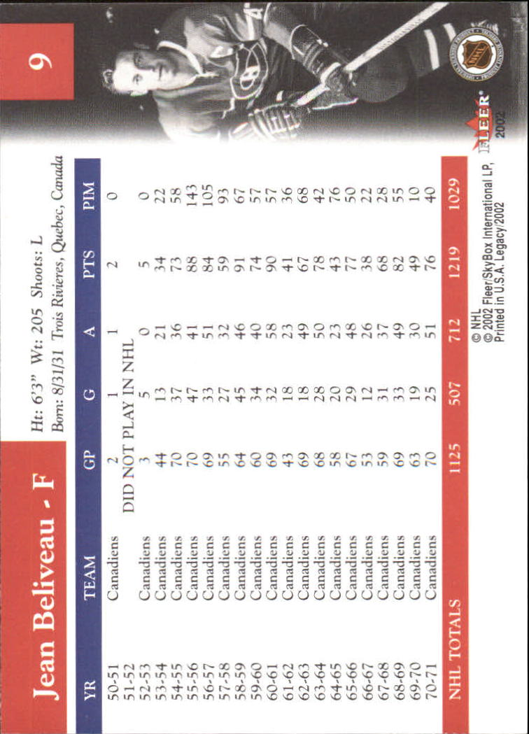 2001-02 Fleer Legacy #9 Jean Beliveau back image