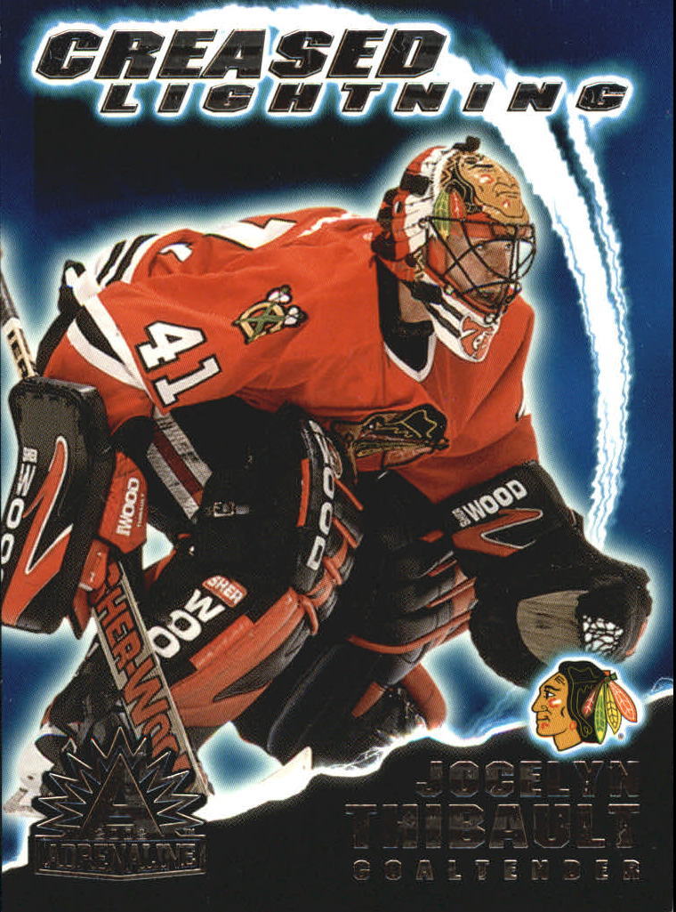 2001-02 Pacific Adrenaline Creased Lightning #3 Jocelyn Thibault