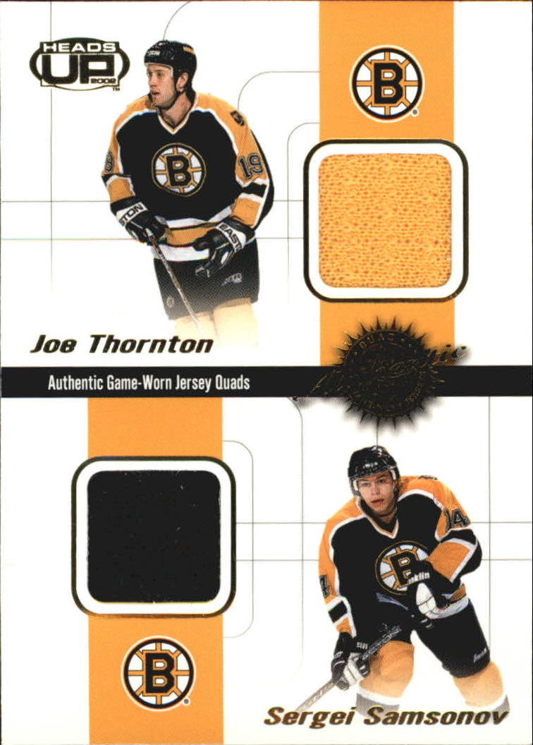 2001-02 Pacific Heads Up Quad Jerseys #2 Joe Thornton/Sergei Samsonov/Kyle McLaren/Byron Dafoe