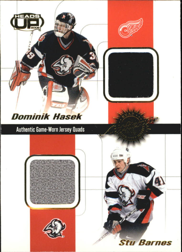 2001-02 Pacific Heads Up Quad Jerseys #4 Dominik Hasek/Stu Barnes/Mariusz Czerkawski/Kenny Jonsson