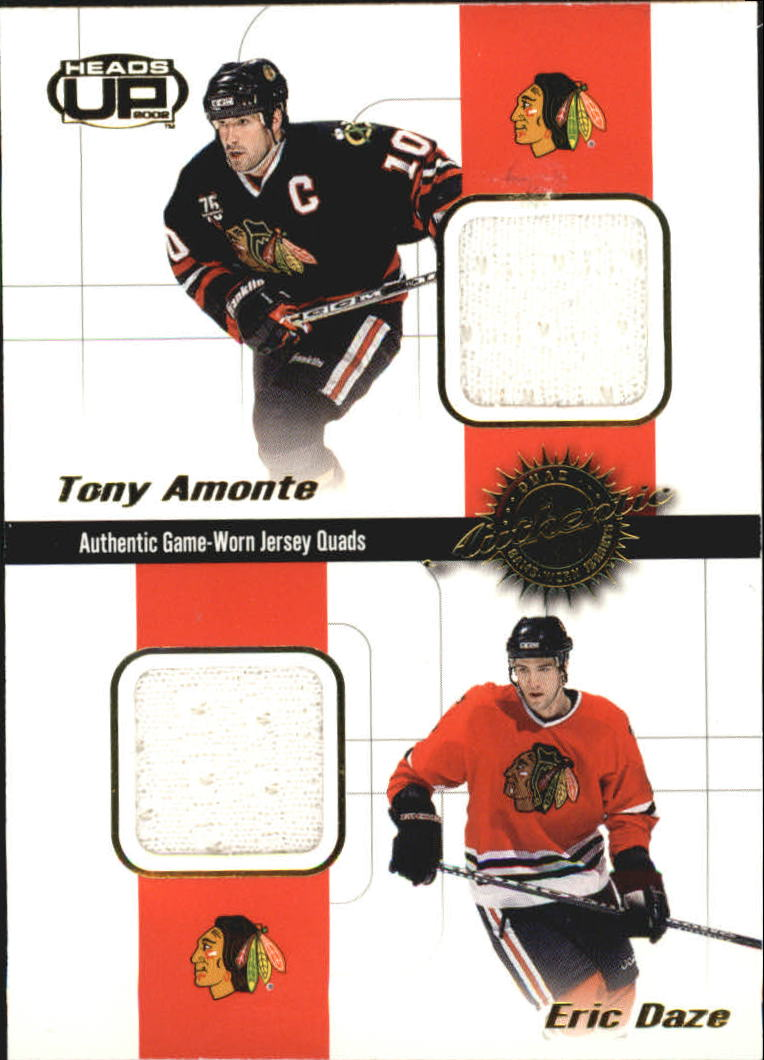 2001-02 Pacific Heads Up Quad Jerseys #6 Tony Amonte/Eric Daze/Jocelyn Thibault/Kyle Calder