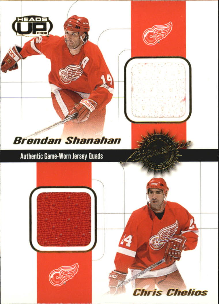 2001-02 Pacific Heads Up Quad Jerseys #11 Brendan Shanahan/Chris Chelios/Mathieu Dandenault/Chris Osgood