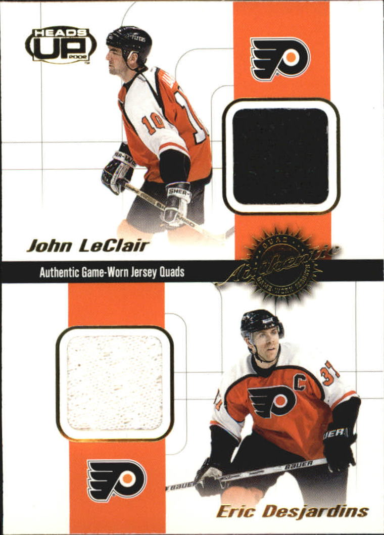 2001-02 Pacific Heads Up Quad Jerseys #15 John LeClair/Eric Desjardins/Kevin Stevens/Kip Miller