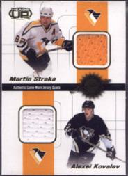2001-02 Pacific Heads Up Quad Jerseys #18 Martin Straka/Alexei Kovalev/Jean-Sebastien Aubin/Rich Parent